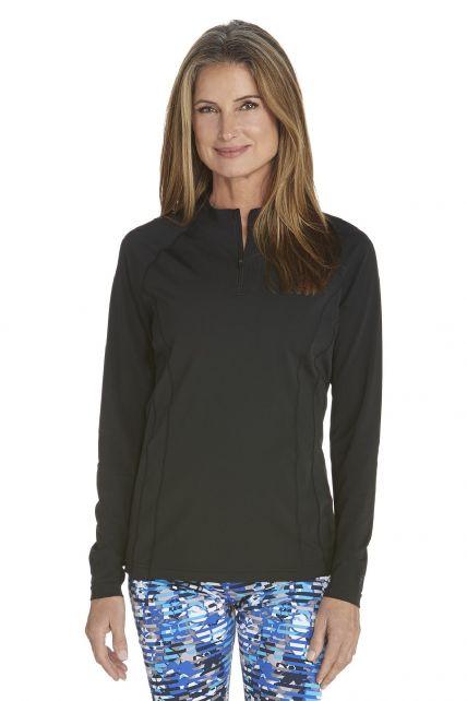 Coolibar---UV-Swim-Shirt-for-women---Longsleeve---Freestyle-Rash---Black