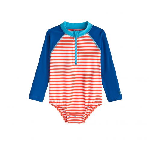 Coolibar - UV bathing suit for babies - Long sleeve - Tango Stripe - Front