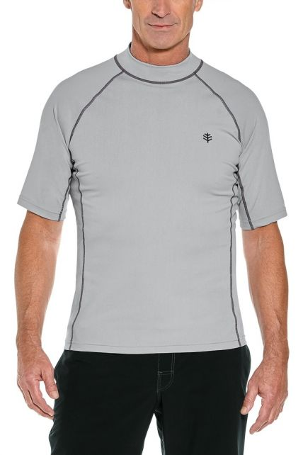 Coolibar---Men's-UV-swimshirt---short-sleeve---Mercury-Grey