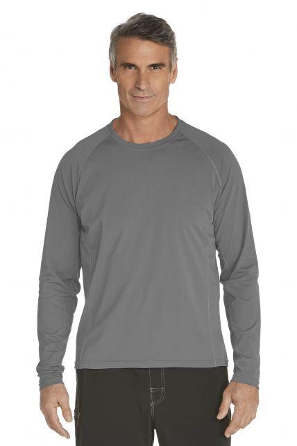Men's Long-Sleeve Swim Shirts - grey - Front