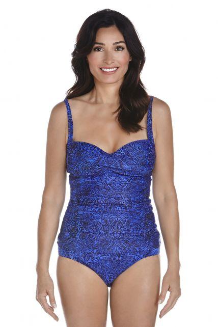 Coolibar---UPF-50+-Women's-Bandeau-Tankini-top---Blue-Floral-Motif