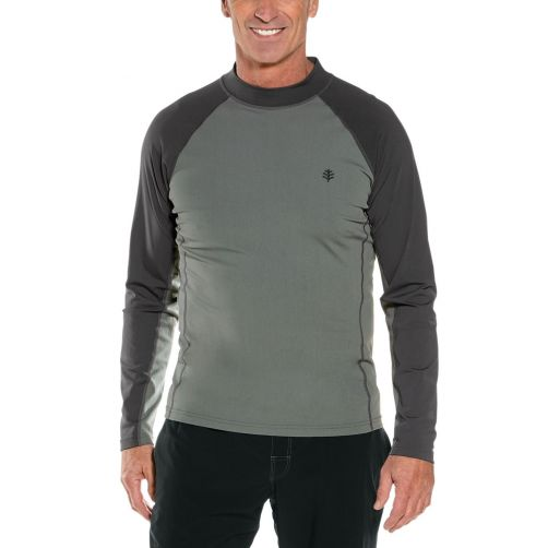 Coolibar---Men's-UV-swimshirt---long-sleeve---Charcoal/Pomice-Grey-Colorblock