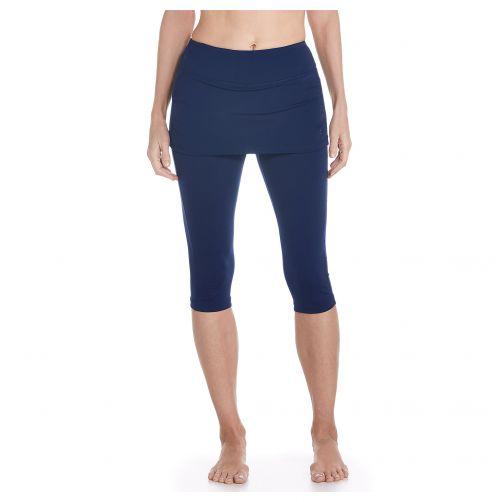 Coolibar---UV-skirted-swim-leggings-for-women---Navy-blue