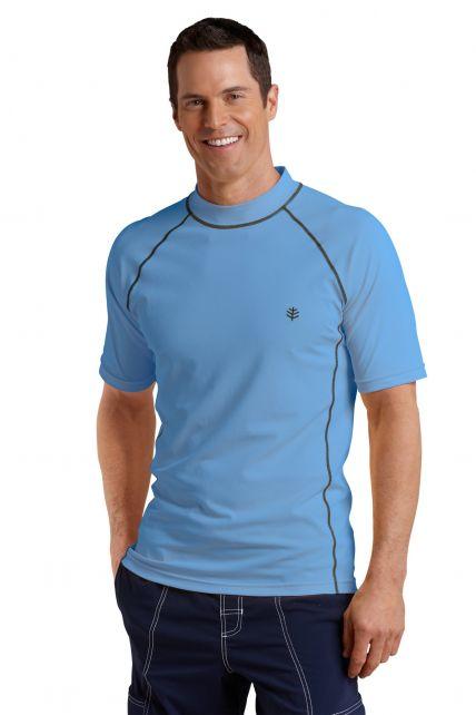 Coolibar---UV-Swim-Shirt-for-men---Tulum-Rash-Guard---Surf-Blue