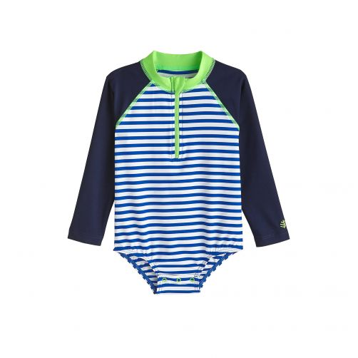 Coolibar - UV bathing suit for babies - Long sleeve - Blue Wave Stripe - Front