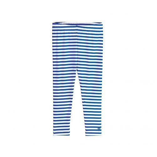 Coolibar - UV swim leggings for babies - blue-white striped - Front