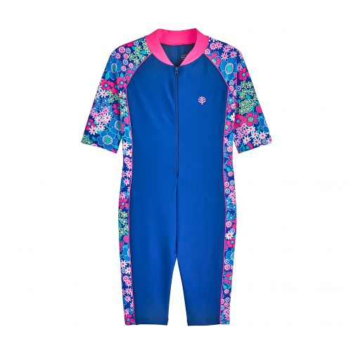 Coolibar - UV swimsuit for children - blue with flowers - Front