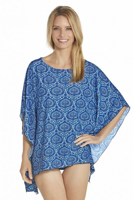 Coolibar - UV Beach poncho women - Blue - Front
