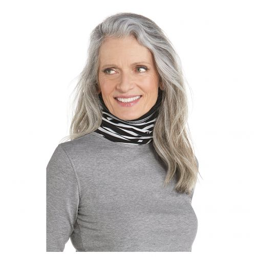 Coolibar---UV-neck-gaiter-unisex--Side-vents---Black-/-white-stripe