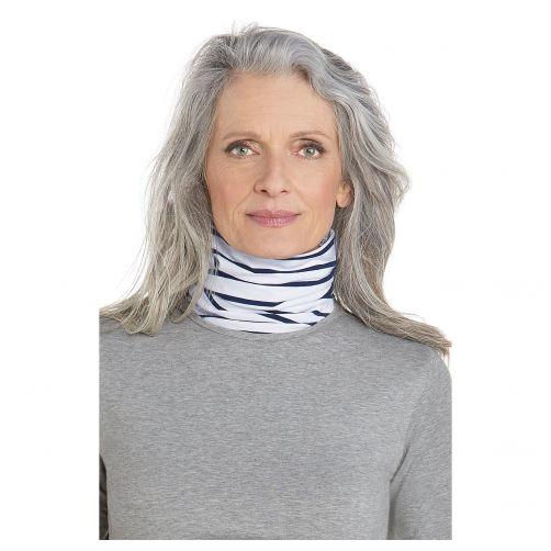 Coolibar - UV neck gaiter unisex- Side vents - Blue / white stripes - Front