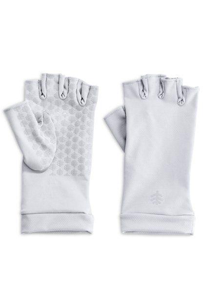 Coolibar - UV resistant fingerless gloves - White - Front