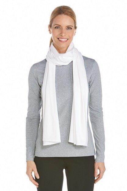 Coolibar---UV-resistant-sun-scarf---White