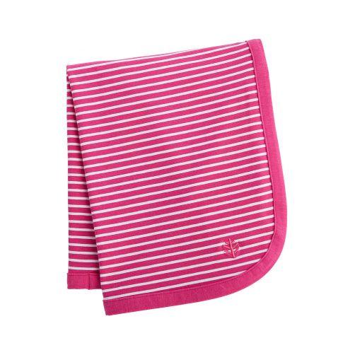 Coolibar---UV-blanket-for-babies---magenta-white-striped