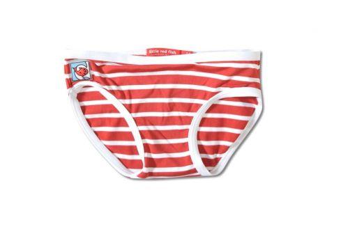 Little Red Fish - UV Bikini Bottoms Kids- Red/White Stripes - 0