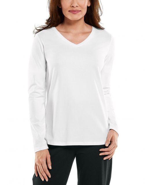 Coolibar---UV-Shirt-for-women---V-Neck-Longsleeve---Morada---White