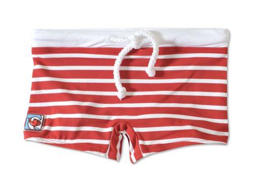 Little Red Fish - UV Swim Shorts Kids- Red/White Stripes - 0