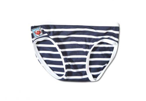 Little Red Fish - UV Bikini Bottoms Kids- Blue/White Stripes - 0