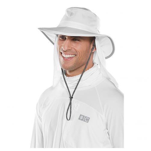 Coolibar - UV hat with concealable neck flap for men and women - white - Front