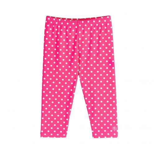 Coolibar - UV capri swim leggings for kids - pink/white polka dots - Front