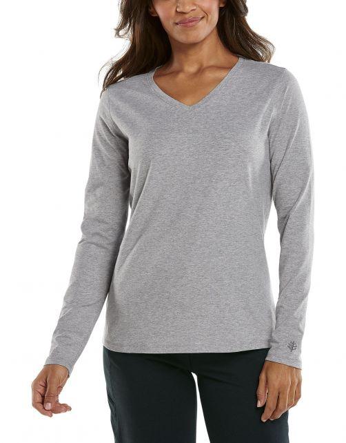 Coolibar---UV-Shirt-for-women---V-Neck-Longsleeve---Morada---Grey