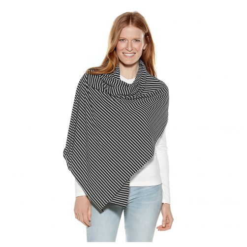 Coolibar---UV-sun-shawl-for-ladies---black/white-stripes
