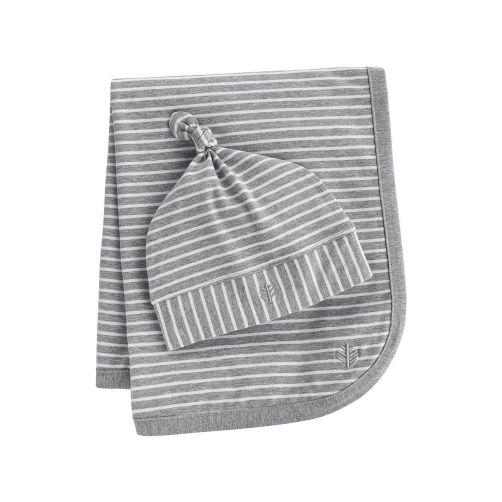 Coolibar---UV-baby-beanie-and-sun-blanket---grey/white-stripes