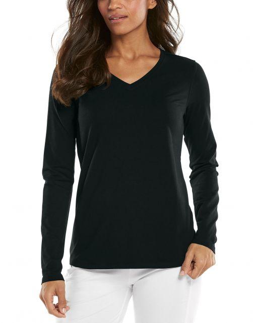 Coolibar---UV-Shirt-for-women---V-Neck-Longsleeve---Morada---Black