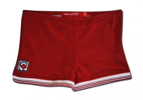 Little Red Fish - UV Swim Shorts Kids- Red w/ Stripe Trim - 0