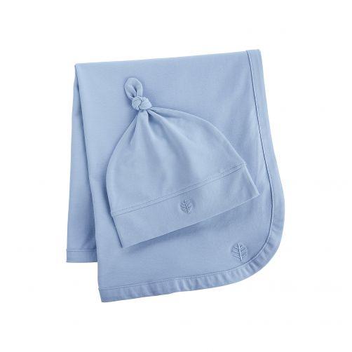 Coolibar---UV-baby-beanie-and-sun-blanket---light-blue