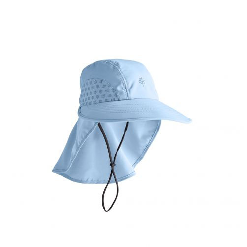 Coolibar---UV-cap-with-neck-protection-for-children---light-blue
