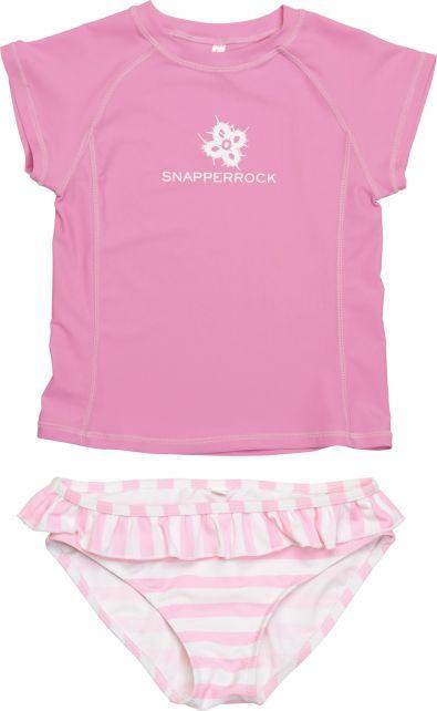 Snapper Rock - UV Swim Set Kids Cap Sleeve- Pink/White Stripe - 0