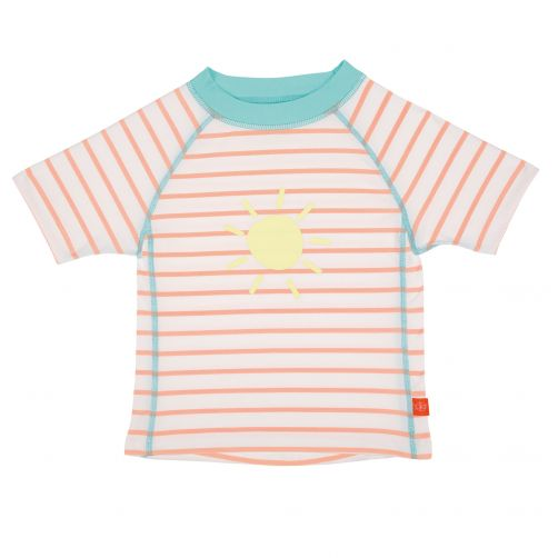Lässig - UV swim shirt for kids Striped - White / Peach / Blue - Front