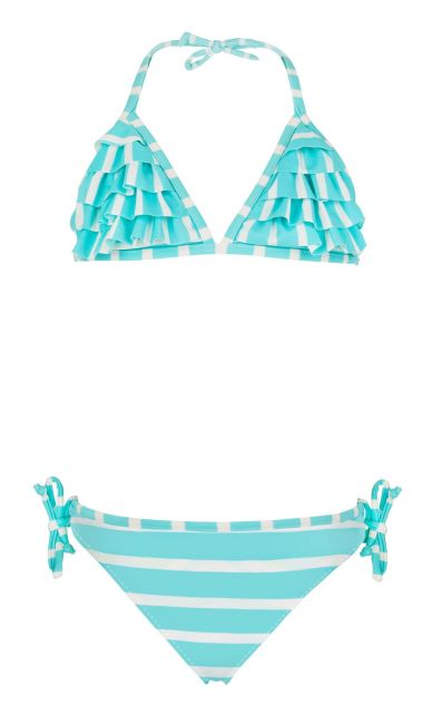 Snapper Rock - Waterfall bikini - Aqua/White stripe - Front