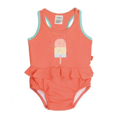 Lässig - Swimsuit with integrated swim diaper - Ice Cream - Peach - Front