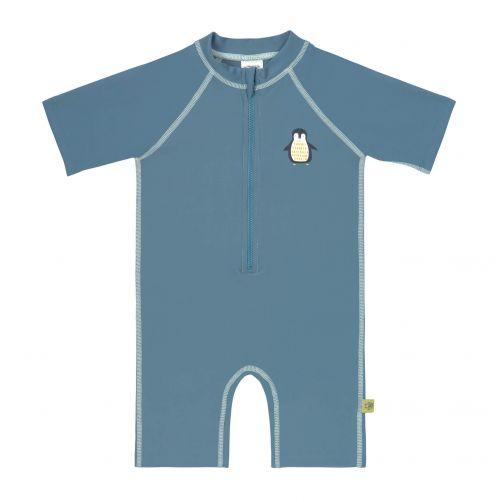 Lässig - Kids' UV swimsuit - short-sleeve - Penguin - blue - Front
