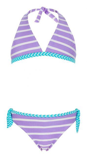 Snapper Rock - Lavender Stripe Bikini - Front