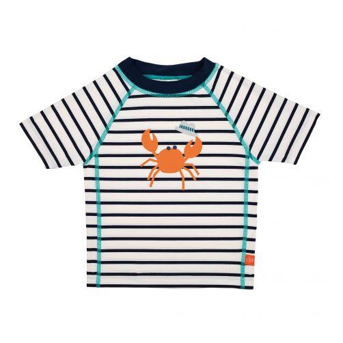 Lässig - UV swim shirt for children - Striped - White / Dark Blue - Front