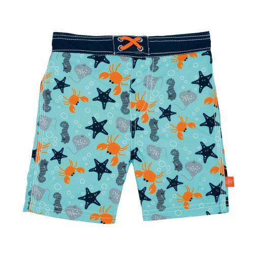 Lässig - Swim shorts for boys - Star Fish - Light blue - Front