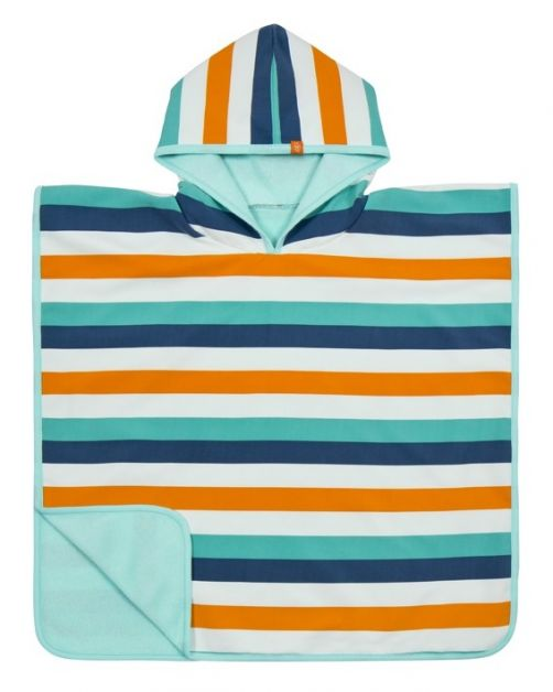 Lässig---Baby-towel-with-hood-for-children---White/Blue/Orange
