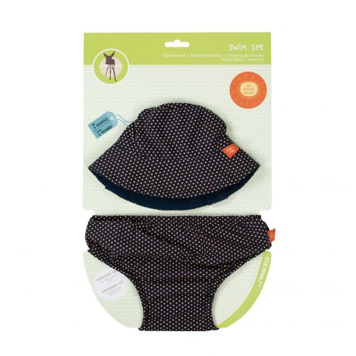 Lässig - UV set including swim diaper and beach hat - Dark blue - Front