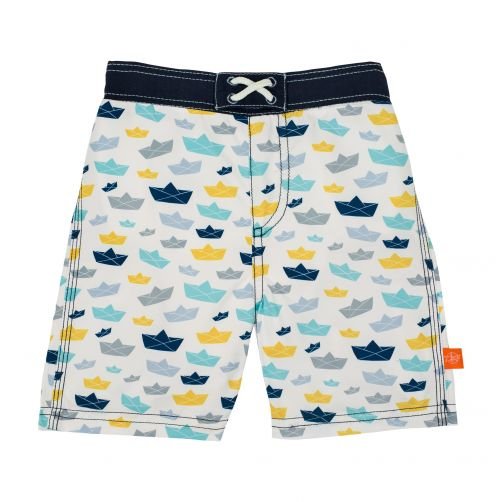 Lässig - Swim shorts for boys - Boat - White / Blue / Yellow - Front