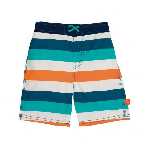 Lässig - Swim shorts for boys - Striped - White / Blue / Peach - Front