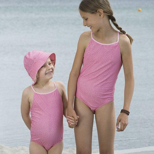 Petit Crabe - UV Bathing suit - Flowers - Pink - Front
