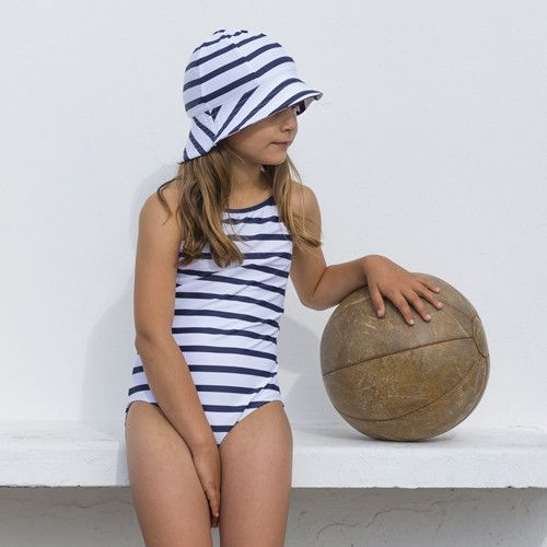 Petit Crabe - UV Bathing suit - Striped - White/Navy - Front