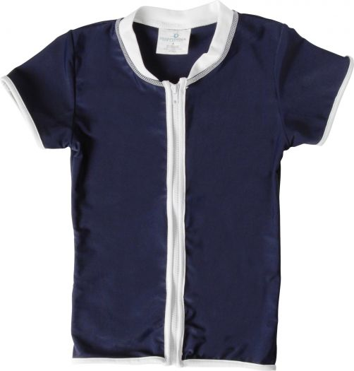 Snapper Rock - UV Shirt Kids Short Sleeve- Navy Zip Thru - 0
