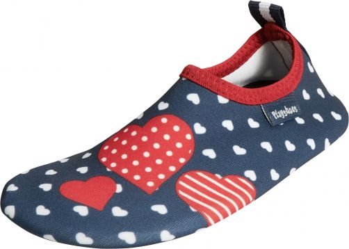 Playshoes - UV barefoot shoes for girls - hearts - dark blue - Front