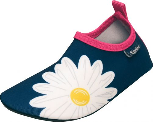 Playshoes - UV swim shoes for girls - Oxeye daisy - Navy blue / pink - Front