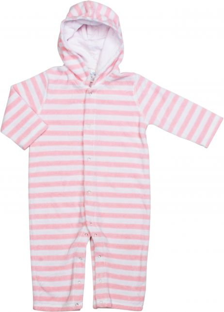 Snapper Rock - One Piece infant terrycloth Kids long Sleeve- Baby Pink Stripe - 0