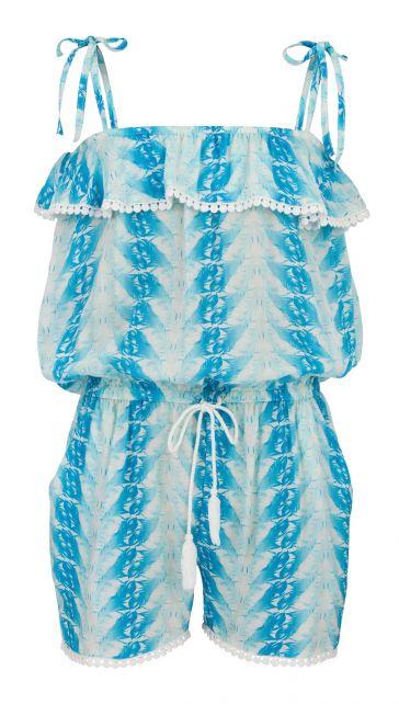 Snapper Rock - Blue Feather Jumpsuit - Front