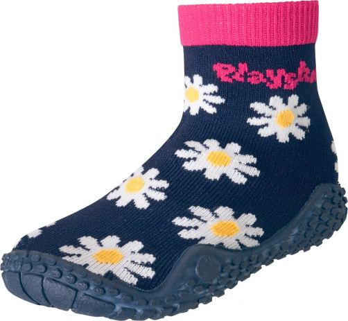 Playshoes - Swim socks for girls - Oxeye daisy - Navy blue / pink - Front